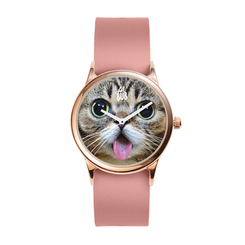 Rose Gold Watch - BUB FACE - Pink Leather