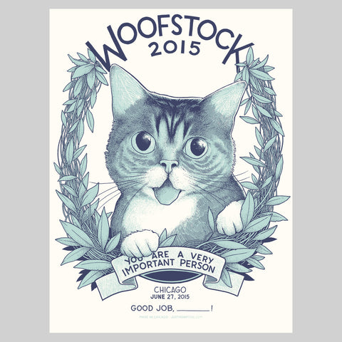 "Limited Edition Art Print (signed and stamped) - ""Woofstock"" - Chicago, IL, 2015"