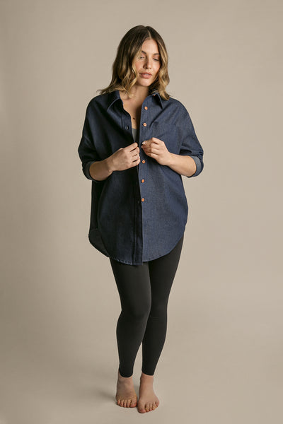 Indigo|Model is 5'6 (34A/26) - Flowy Shirt|STL-7
