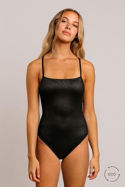 Graphite|Model is 5'8 (32B - 25) and wearing Small - Annie one piece