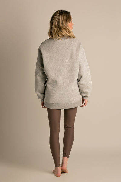 Fleece Stone|Model is 5'6 (32B) and wearing Small - Lazy Sunday Sweatshirt|STL-3