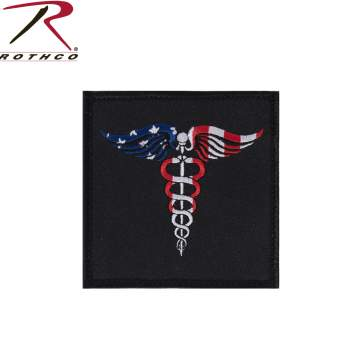 Caduceus Medical Symbol American Flag Patch with Hook Back
