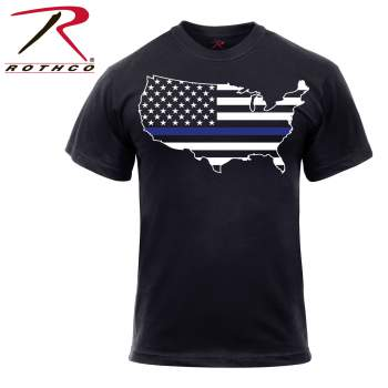 THIN BLUE LINE AMERICAN MAP T-SHIRT