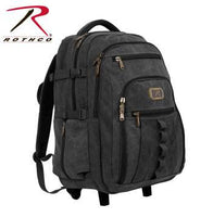 Rolling Canvas Backpack, Black