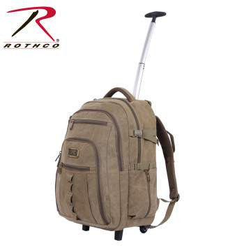 Rolling Canvas Backpack, Khaki