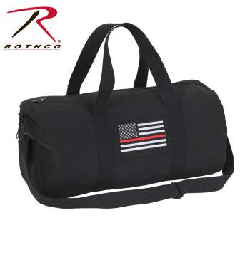 Thin Red Line Canvas Shoulder Duffle Bag