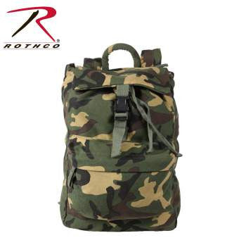 CANVAS DAYPACK, WOODLAND CAMO