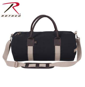 "19"" Canvas & Leather Gym Bag, Black"
