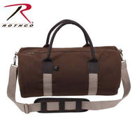 "19"" Canvas & Leather Gym Bag, Earth Brown"