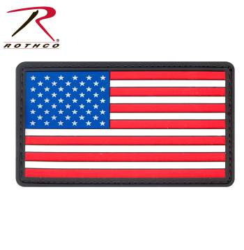 PVC US Flag Patch With Hook Back