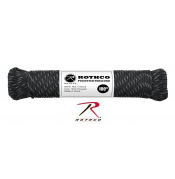 Polyester Paracord - Black with Reflective Tracers 100ft