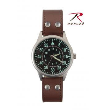 Military Style Watch With Leather Strap