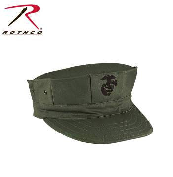 Marine Corps Poly/Cotton Cap with Emblem, Olive Drab