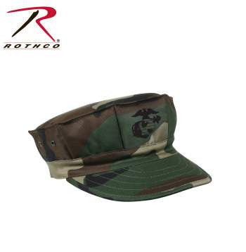 Marine Corps Poly/Cotton Cap with Emblem, Woodland Camo