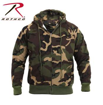 Woodland Camo Zippered Thermal Lined Hooded Sweatshirt Sale!