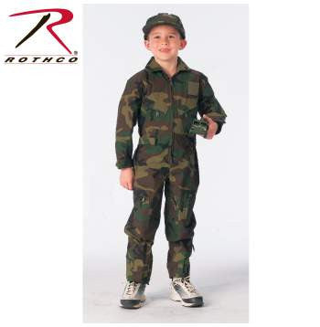Kids Air Force Type Flightsuit Woodland Camo
