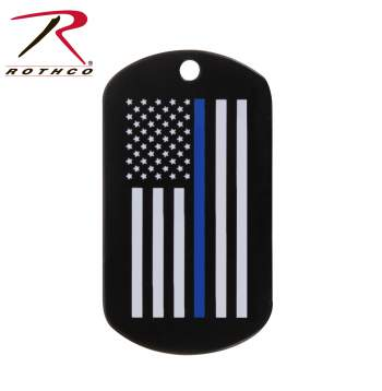 Thin Blue Line Dog Tag with Silver Chain