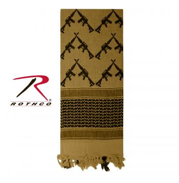 Crossed Rifles Shemagh Tactical Desert Keffiyeh Scarf Coyote Brown