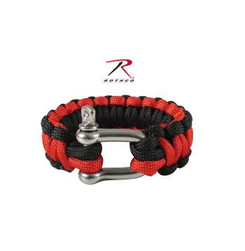 Thin Red Line Paracord Bracelet With D-Shackle