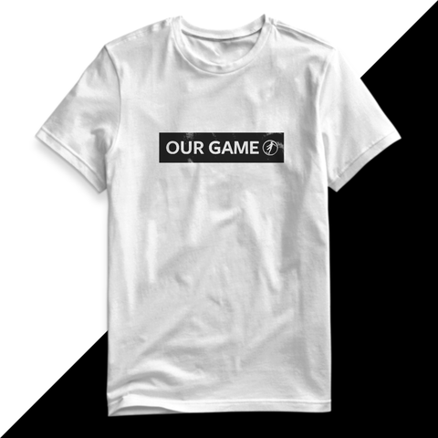 our game magazine logo shirt in black and white
