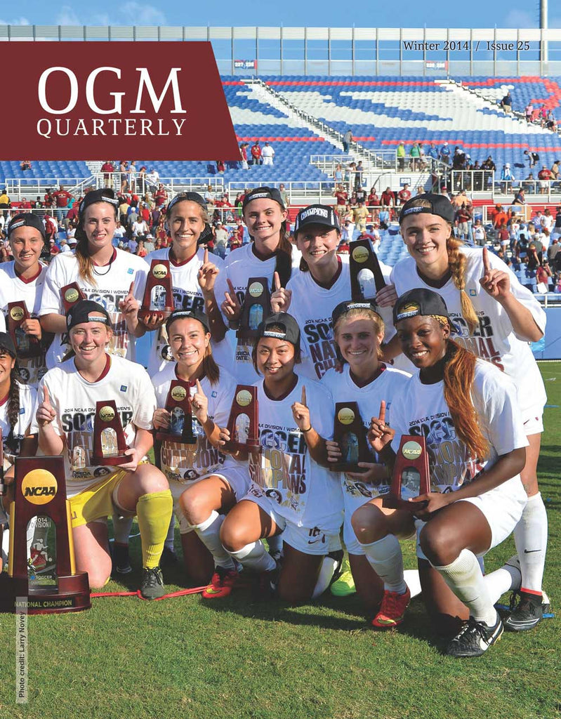 Florida State celebrating its 2014 NCAA Championship is the cover image for the Winter 2014 issue.