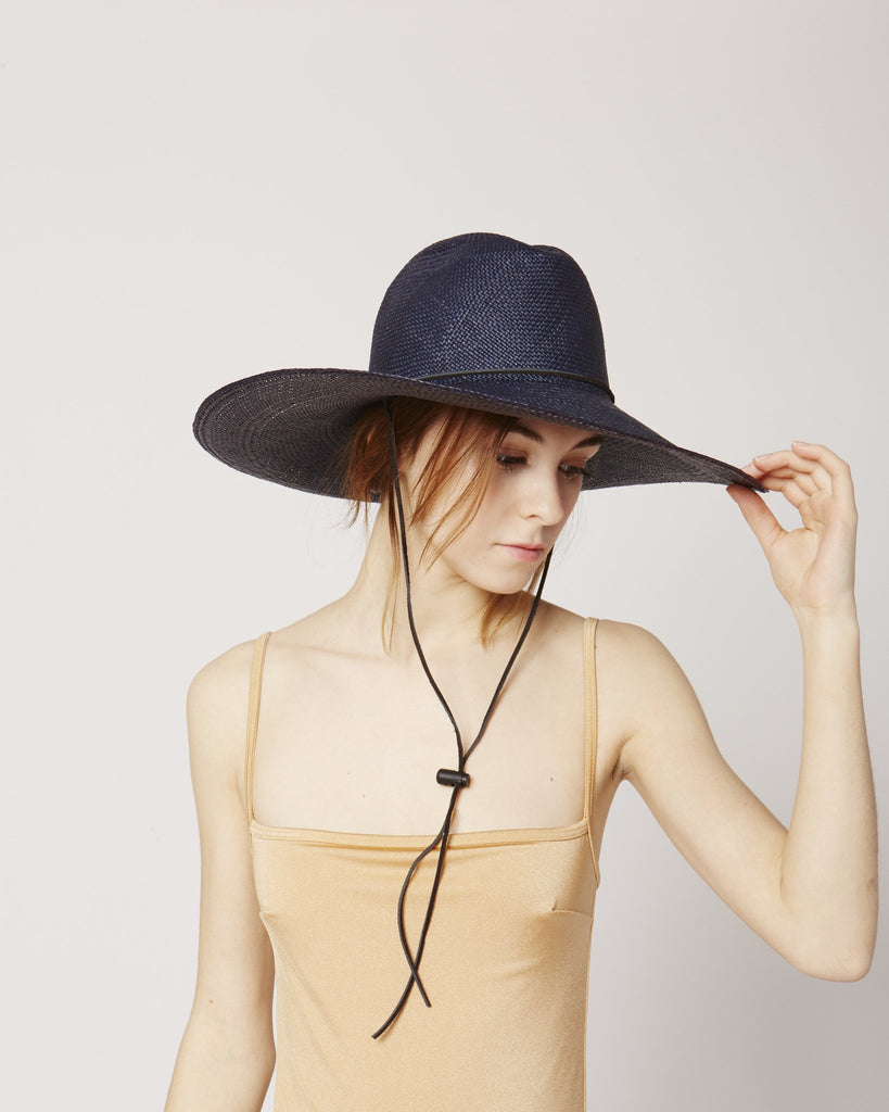 Boro navy straw hat