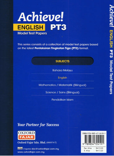 Oxford Fajar-Achieve PT3: English Model Test Papers-9789834724191-BukuDBP.com