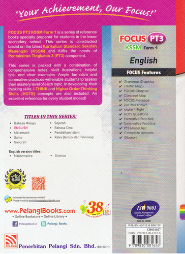 Pelangi-Focus PT3 KSSM: English Form 1-9789830081656-BukuDBP.com