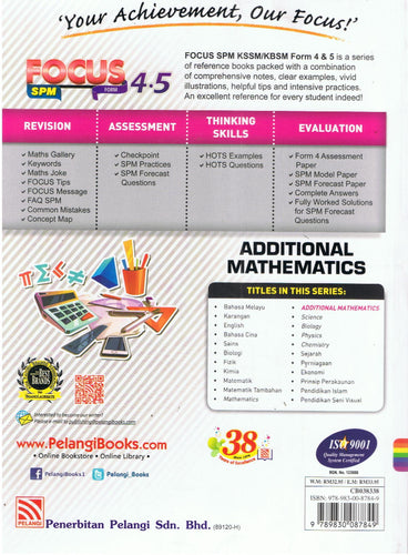 Pelangi-Focus SPM: Additional Mathematics-9789830087849-BukuDBP.com