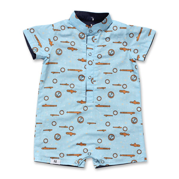 Blue Dolphin Baby Boy Onesie (Light Blue)