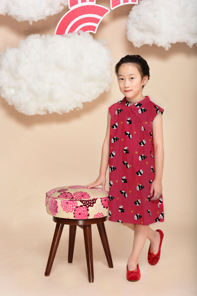 Little Kai Non-Reversible Classic Cheongsam (Red Panda)