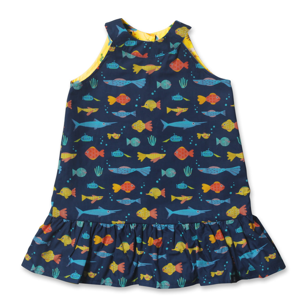 Marine Party Reversible Ruffle Dress