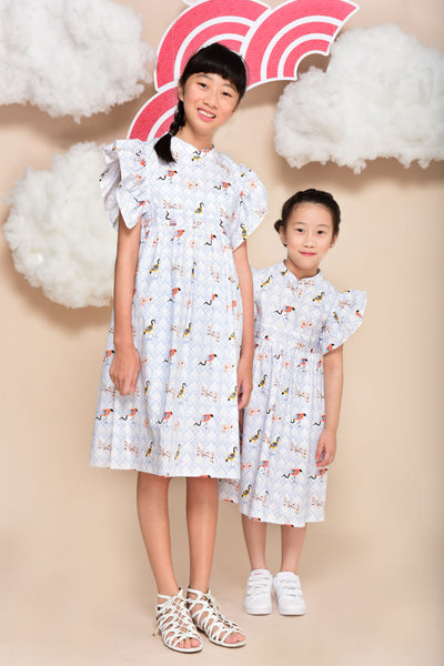 Xiaoan Non-Reversible Flared Sleeves Cheongsam (Cranes)