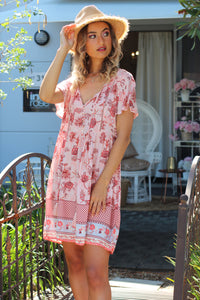 Threads of Summer Mini Dress - Blush