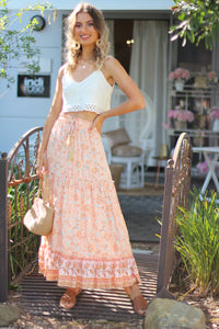 Cotton Candy Midi Skirt - Tangerine