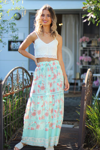 Threads of Summer Maxi Skirt - Mint