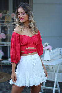 Cosmo Crop Top - Red