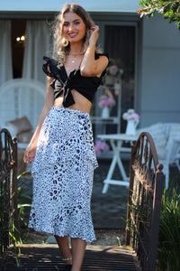 Snow Leopard Midi Skirt