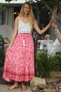 Lady in Pink Maxi Skirt