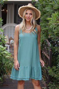 Flaked Almond Mini Dress - Sage