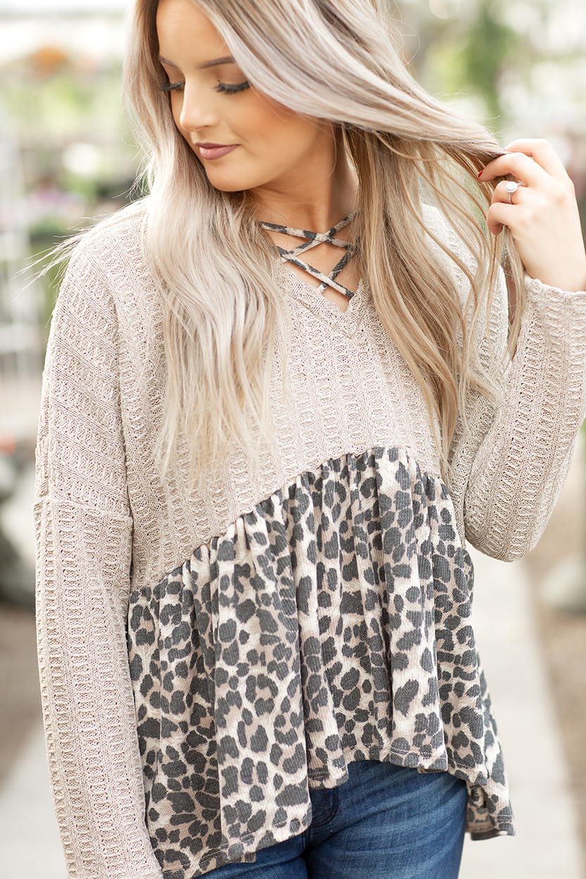 Closer To You Animal Print and Oatmeal Top