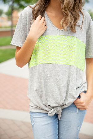 Reminds Me Of You Neon Sequin Top In Gray