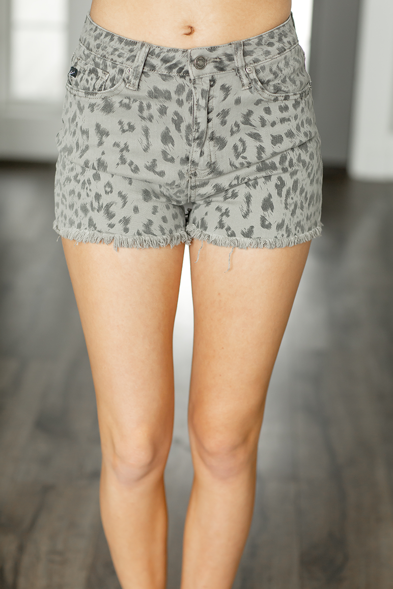 KanCan Gray Animal Print Shorts