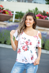 So Blessed Cold Shoulder Ivory Floral Top