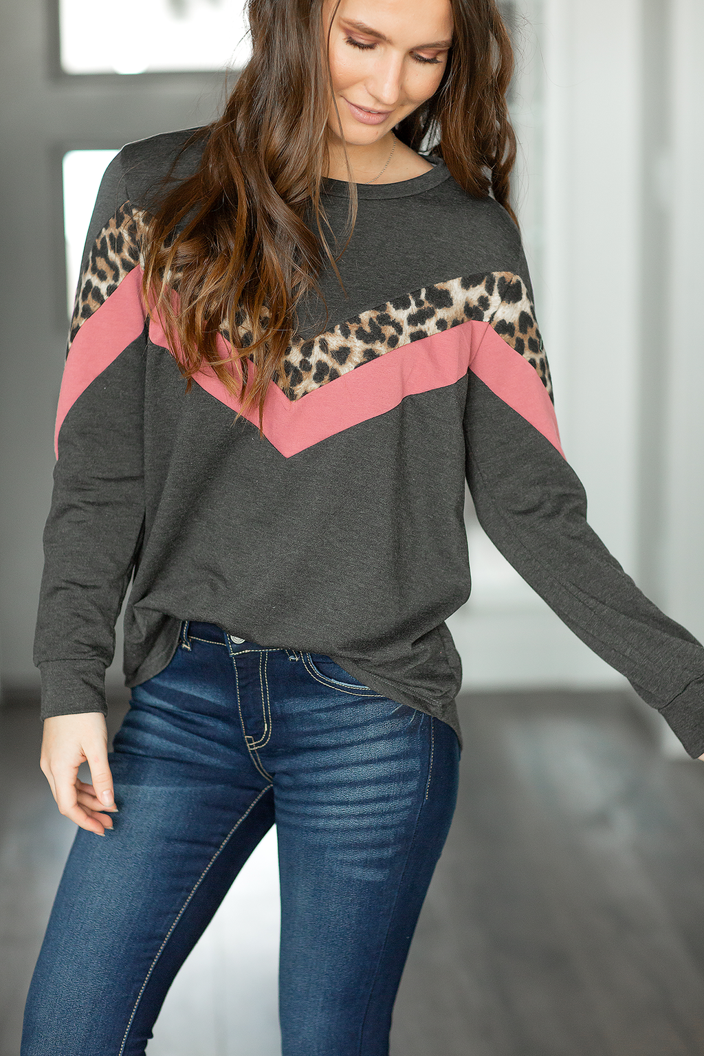 Always Thoughtful Charcoal Top with Animal Print and Pink (SALE)