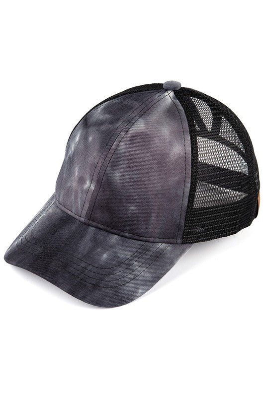 CC Mesh Ponytail Baseball Cap in Black Tie Dye