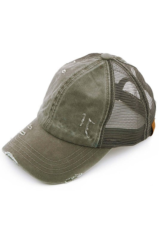 CC Mesh Ponytail Baseball Cap in Olive