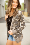 Cute As a Button Snap Cardigan in Camo