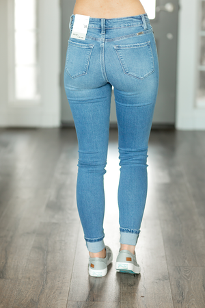 KanCan Keep It Up Medium Wash Denim Jeans with Buttons