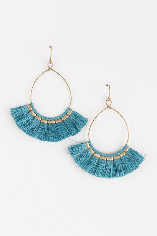 Ashley Fringe Earrings in Turquoise